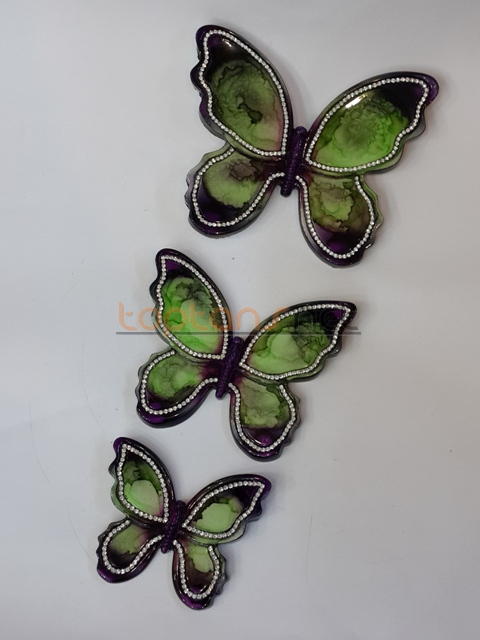 Polyester El Boyaması 3 Lü Kelebek Duvar Süsü Toptansnet